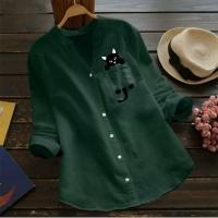 Рубашка котик в кармане зеленая AZ116