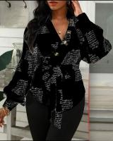 Рубашка с поясом на запах буквы черная A133 116