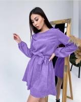 Платье с поясом микровельвет сирень A133