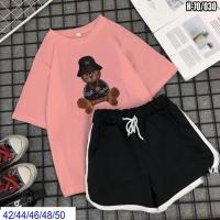 Шорты и футболка Мишка в шляпе розовая SV