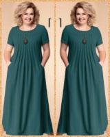Платье длинное SIZE PLUS лайт тем-зеленое RH122