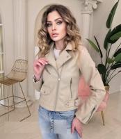Куртка под кожу с кармашком без ремня кремовая ZI