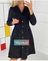 Платье микровельвет на пуговках черное A116