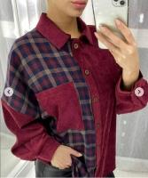 Рубашка комбинированная вельвет бордо A133