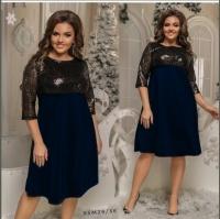 Платье Size Plus с черными пайетками и синим низом M29