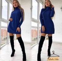 Платье клеш ангора софт синее K115