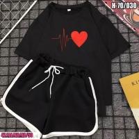 Шорты и футболка биение сердца черная SV