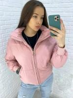 Куртка стойка ворот с карманами пудрово-розовая 01-DIM