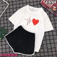 Шорты и футболка биение сердца белая SV