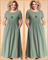 Платье длинное SIZE PLUS лайт фисташка RH122