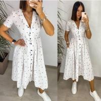 Платье софт в горошек на пуговках белое S111