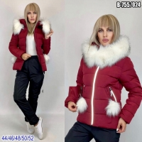 Зимний костюм с бордовой курткой помпоны SV