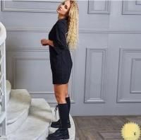 Платье вельвет с карманами черное RH06