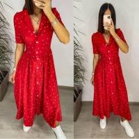 Платье софт в горошек на пуговках красное S111