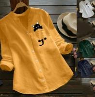 Рубашка котик в кармане желтая AZ116