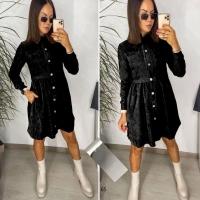 Платье вельвет на пуговицах с карманами черное X118