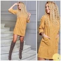 Платье вельвет с карманами желтое RH06