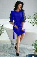 Платье крепун сеточка рукава ярко-синее UM29
