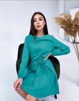 Платье с поясом микровельвет бирюза A133