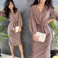 Платье миди софт в горошек каппучино AZ116
