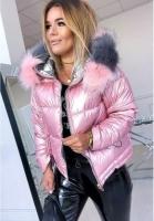 Куртка с мехом розовая H109
