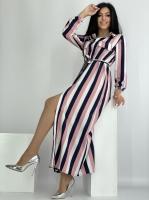 Платье SIZE PLUS макси на пуговках пудровая полоса RH122