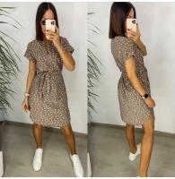 Платье софт в горох с поясом Каппучино AZ116