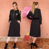 Платье SIZE PLUS с молнией и лейблом черное UM29