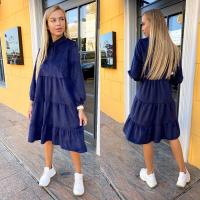 Платье микровельвет колокольчик темно-синее KH