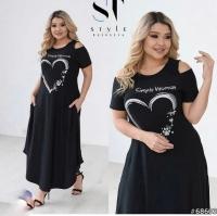 Платье с сердцем Size Plus черное S111 KH