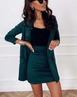 Костюм спандекс пиджак и юбка зеленый K115