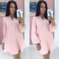 Платье барби манжет резинка розовое Rh122