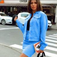 Костюм юбка вельвет и жакет голубой K115