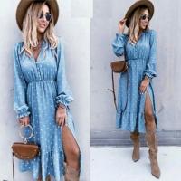 Платье софт в горошек голубое RX1 X118