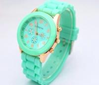 Часы с силиконовым ремешком Geneva бирюза