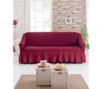 Чехол на трехместный диван бордовый