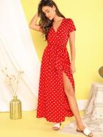 Платье в горошек на запах red OP37 111 126