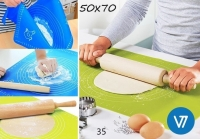 Силиконовый коврик для выпечки, для раскатки теста с разметкой 50х70