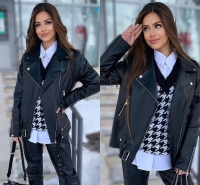 Куртка под кожу удлиненная черная ZI NG 124