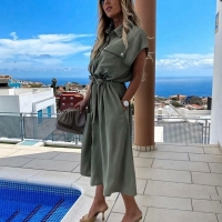 Платье лайт с поясом и карманами хаки IT2-118