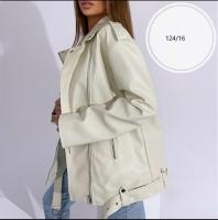 Куртка OVERSIZE экокожа с ремнем кремовая T124