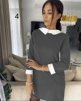 Платье с манжетами и белым воротничком серое RH06