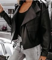 Куртка под кожу крупный карман черная ZI