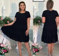 Платье колокольчик Size Plus черное RXA233.6
