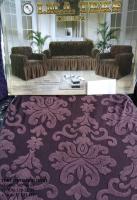 Набор жаккард-стрейч с оборкой на 3-х местные диван и 2 кресла коричневый