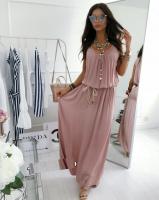 Платье длинное с поясом пудра S29