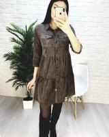 Платье вельвет 2 кармана шоколад A133