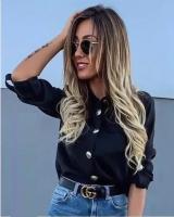 Рубашка с крупными пуговицами черная A133 OP37