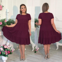 Платье колокольчик Size Plus бордо RXA233.6
