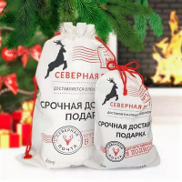 Мешок Срочная доставка подарка от деда мороза средний 30х40
